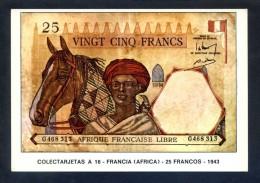 Colectarjetas A 16 - *Francia (Africa) - 25 Francos - 1943* Ed. Eurohobby. Nueva. - Monedas (representaciones)