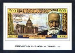 Colectarjetas A 21 - *Francia - 500 Francos - 1955* Ed. Eurohobby. Nueva. - Monedas (representaciones)