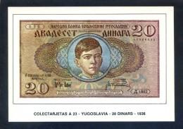 Colectarjetas A 23 - *Yugoslavia - 20 Dinars - 1936* Ed. Eurohobby. Nueva. - Monedas (representaciones)