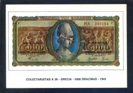Colectarjetas A 26 - *Grecia - 5000 Dracmas - 1943* Ed. Eurohobby. Nueva. - Monedas (representaciones)