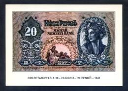 Colectarjetas A 29 - *Hungria - 20 Pengö - 1941* Ed. Eurohobby. Nueva. - Monedas (representaciones)