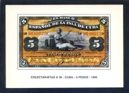 Colectarjetas A 30 - *Cuba - 5 Pesos - 1896* Ed. Eurohobby. Nueva. - Monedas (representaciones)