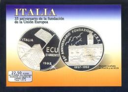 España. Postal Respuesta Comercial *Lamas Bolaño. Barcelona* Nueva. - Monedas (representaciones)