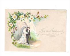 """HUWELIJK - """"Herzlichen Glückwunsch"""" - (omstreeks 1880 / 1890) - 9 X 12 CM. - Fiches Illustrées"""