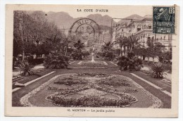 Cpa 06 - Menton - Le Jardin Public - (flamme Exposition Coloniale) - Menton