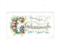 """Gelukwensen : """"Herzlichen Glückwunsch""""  - (omstreeks 1880 / 1890) - 8,5  X 5 Cm. - Fiches Illustrées"""