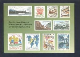Suecia. *The Ten Most Popular Swedish Stamps 1985* Circulada. - Sellos (representaciones)