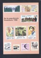 Suecia. *The Ten Most Popular Swedish Stamps 1988* Nueva. - Sellos (representaciones)