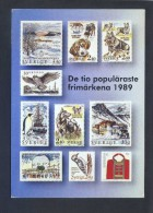 Suecia. *The Ten Most Popular Swedish Stamps 1989* Escrita. - Sellos (representaciones)