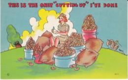 US Anti-German Propaganda Humor, WAC Woman Peels Potatoes, C1940s Vintage Linen Postcard - Humour