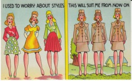 US Anti-German Propaganda Humor, WAC Woman Used To Worry About Fashion, Uniforms, C1940s Vintage Linen Postcard - Humour