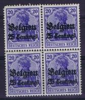 Deutsche Reich: Belgium 1914 Mi Nr 4 4-block MNH/** - Besetzungen 1914-18
