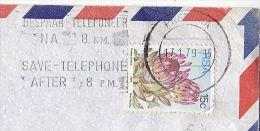 1979 Air Mail Pretoria SOUTH AFRICA Stamps COVER SLOGAN Pmk SAVE TELEPHONE AFTER 8pm Telecom - Telecom