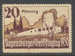 Deutsche Reich 1930 Airmail Regensburger Grossflugtag  X  Mh  Klevertje - Germany