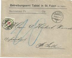 """Taxierter Brief  """"Betreibungsamt Tablat""""  St.Fiden - St.Gallen               1907 - Lettres & Documents"""