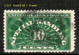 U.S.A.    Scott  # QE 1  VF USED - Parcel Post & Special Handling