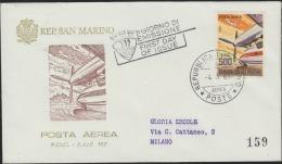 O) 1965 SAN MARINO, PLANE, MOUNTAINS, FDC USED TO MILAN - FDC