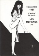 CHUNG: Les Mureaux 1987 Salon Bourse Carte Postale [ Pirate Femme Demi-nu Tirage Limité ] AB090 - Autres Illustrateurs
