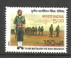 INDIA, 2006, 150 Years Of The Third Batallion ,The Sikh Regiment, Militaria,  MNH,(**)