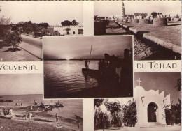 Tchad..Fort-Lamy..belle multi-vues..anim�e..le Camp de Koufra..la Mosqu�e..le bac sur le Chari