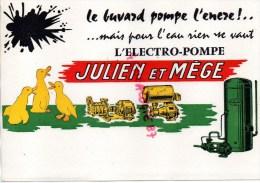 69 - LYON - SUPERBE BUVARD JULIEN ET MEGE - LE BUVARD POMPE L' ENCRE- ELECTRO POMPE- MOTEUR - - Buvards, Protège-cahiers Illustrés