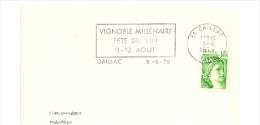 TARN - Dépt N° 81 = GAILLAC 1979 = FLAMME SECAP ' VIGNOBLE MILLENAIRE / FETE DU VIN ' - Postmark Collection (Covers)