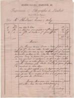 21 BEAUNE FACTURE 1869  IMPRIMERIE LITHOGRAPHIE De LAMBERT  - T44 - Drukkerij & Papieren