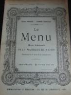 LE MENU, Revue De La Maîtresse De Maison N° 2 : 1896 - Riviste - Ante 1900