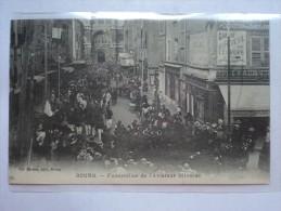 C P A ANIMEE  FUNERAILLES DE L'AVIATEUR OLIVERES JUILLET 1912 EGLISE NOTRE DAMES A BOURG - Bourg-en-Bresse