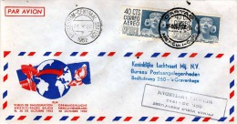 """MEXICO 1952 - 2 X 40 Cts Frankierung Auf LP-Schmuckbrief, Stempel """"Cartas"""" Gel.n. S'Gravenhage Holland - Mexiko"""