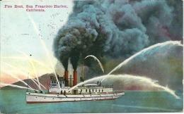 Postcard (Ships) - Fire Boat, San Francisco Harbor, California - Barche
