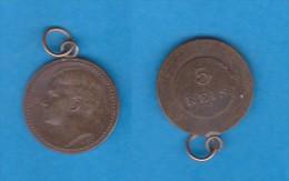 PORTUGAL (D.Manuel II 1908-1910) 5 Reis 1.910   Bronce  KM#555  Recortada Para Medalla   DL-10.721 - Portugal