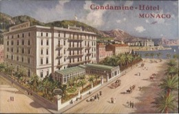 Condamine Hôtel à Monaco, CPA Circulée En 1914 Avec Cachet Principauté - La Condamine