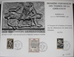 1ére EXPO. Des TIMBRES De La LIBERATION 12 . 11 . 1967 à BORDEAUX - Très Bon état - FDC