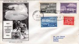 CANADA 1951 - 4 Fach Frankierung Auf First Day Cover, Schmuckbrief, Gel.n. Weesp Holland - Ersttagsbelege (FDC)