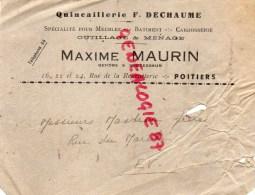 86 - POITIERS - ENVELOPPE PUBLICITAIRE MAXIME MAURIN- 16 24 RUE DE LA REGRATTERIE- QUINCAILLERIE F. DECHAUME - Publicités