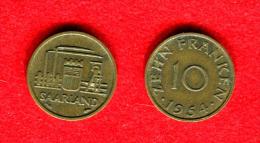 SARRE - SAARLAND -10FR. 1954 - Sarre