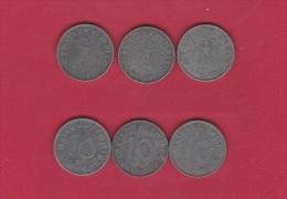 ALLEMAGNE   //  Lot de 3 monnaies de 10 reichspfennig