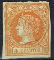 Sello 4 Cuartos Isabel II 1860. Fechador GIBRALEON (Huelva) Num 52 º - 1850-68 Kingdom: Isabella II