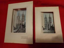 2 Cartes Avec Profondeur-coutances La Cathedrale Relief D´art- - Coutances