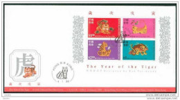 FDC De Chine : 1998 Hong Kong - Année De Tigre SG MS919 - 1997-... Région Administrative Chinoise