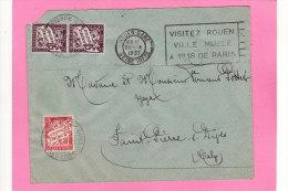 Enveloppe De Rouen Pour Saint Pierre Sur Dives Surtaxes Bloc De 2 Timbres 50 Cent Et 1 Timbre De 30 Cent - Marcophilie (Lettres)