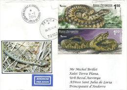 Belle Lettre  Avec Vipères Venimeuses De Bosnie (Ammodyte & Berus) Sur Lettre Adressée En Andorre - Slangen