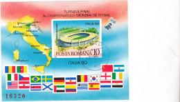 FOOTBALL,COUPE DU MONDE FIFA 1990 BLOCK IMPERFORATED,USED ROMANIA - 1990 – Italie