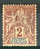 N° 2* _neuf Sans Gomme_bon Centrage_cote 2.90 - Anjouan (1892-1912)