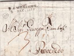 Prefilatelica, Munchen To Rovereto 2 Dicembre 1812 Con Contenuto - [1] ...-1849 Prephilately