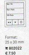 Preis-Etiketten 1000 25x30 New 8€ Text 3-zeilig Kennzeichnung Münzen In Alben/Briefmarken In Steckkarten LINDNER #802022 - Books, Magazines, Comics