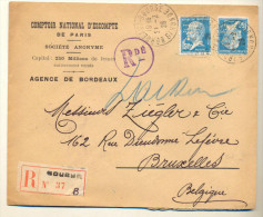 4v76: N° 181+181 Met Perfo: COMPTOIR NATIONAL D'ESCOMPTE : Recommandée BOURSE N°37 B  BORDEAU BOURSE GIRONDE - France