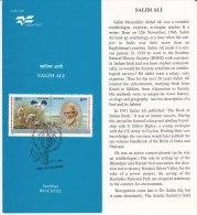 Stamped Information On Salim Ali, Ornithologist Explorer Ecologist Writer, Bird Stork, Wildlife Conservation, India 1996 - Storks & Long-legged Wading Birds