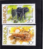RWANDA 1982  UN PROGRAM PROGRAMME ONU ENVIRONNEMENT Environment ELEPHANTS LION PROTEZIONE FAUNA ELEFANTI LEONE MNH - Rwanda
